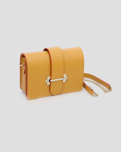 mini sac jaune moutarde en cuir