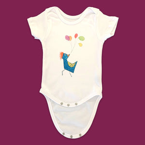 "White Baby Onesie with Print ... ""Flying High"""