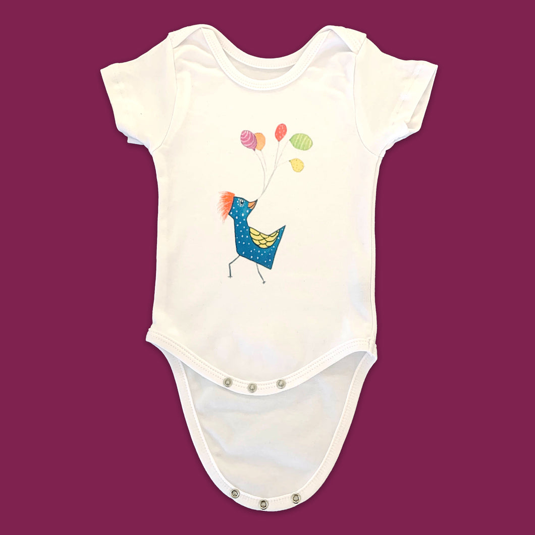 White Baby Onesie with Print ...