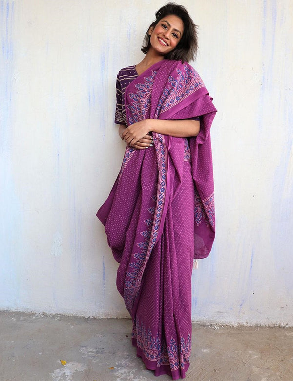 Purple Block Printed Cotton Mulmul Saree