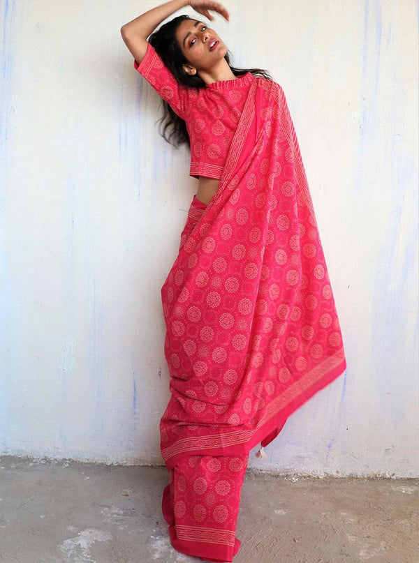 Rani Block Printed Cotton Mulmul Saree