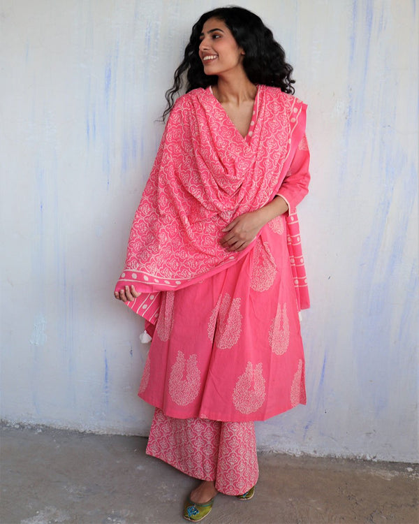 Pink Block Printed Cotton Dupatta -Easy