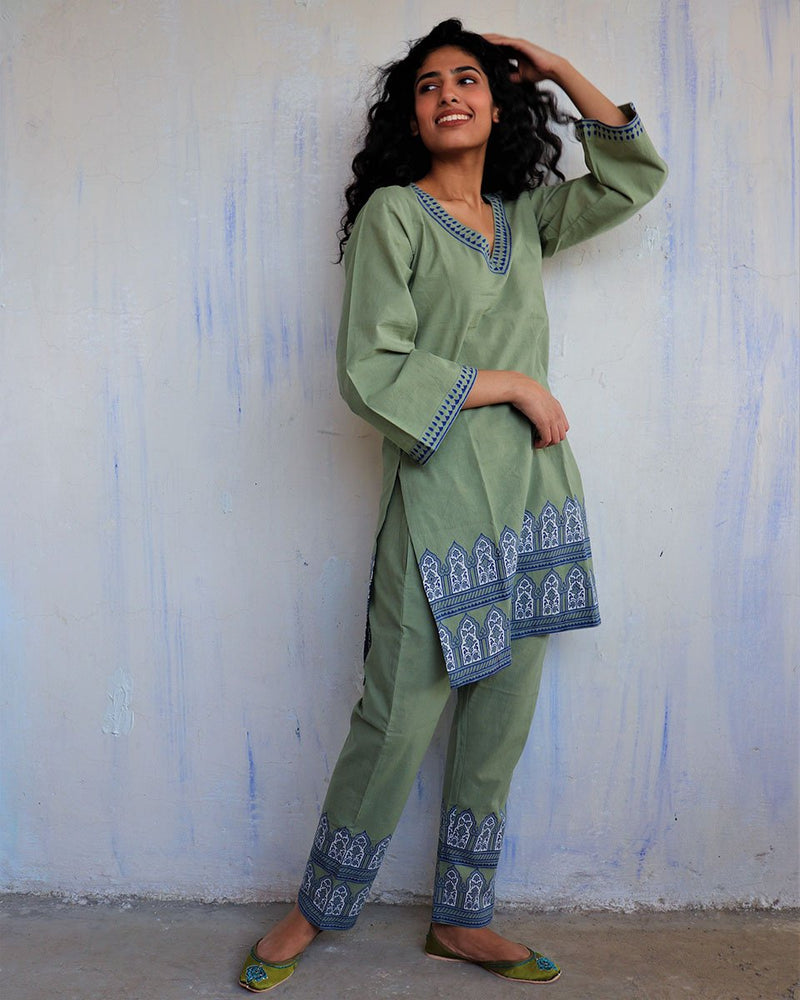 Green Block Printed Cotton Co-ord Set -Easy