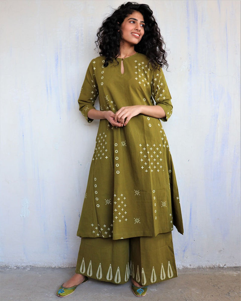 Olive Block Printed Cotton Kurta Set Of 2 -Easy