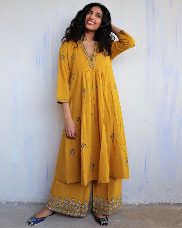 Mustard Block Printed Cotton Kurta Set Of 2 -Easy