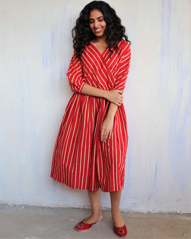 Red Block Printed Cotton Dress -Easy
