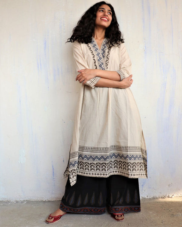 Ivory Black Handprinted Pure Cotton Kurti Set of 2