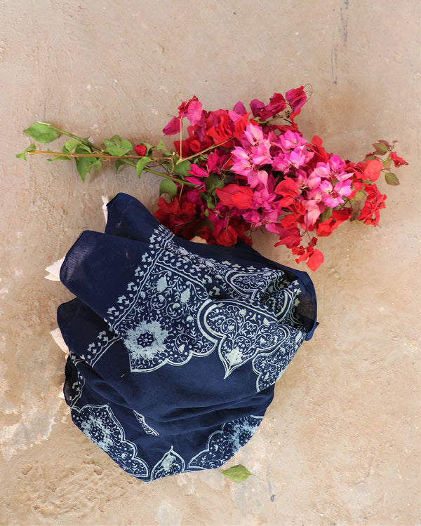 Blue Block Printed Cotton Dupatta -Easy