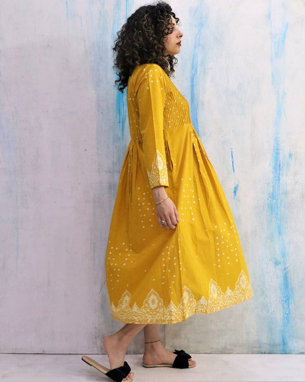 Sunshine Yellow Gathered Cotton Dress