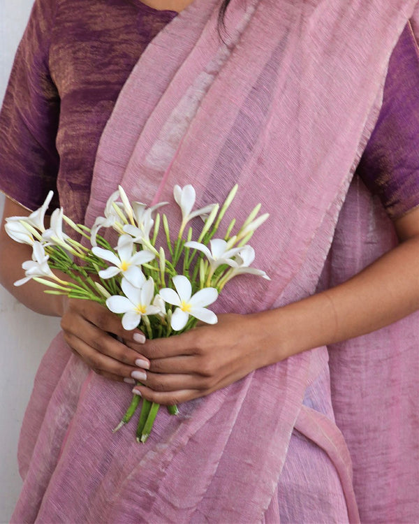 Light Pink Handwoven Linen Zari Saree