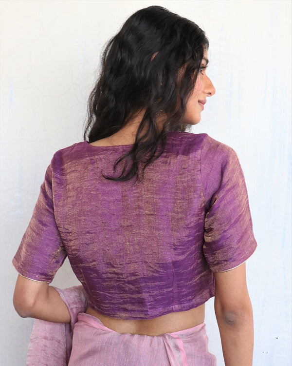 Purple Handwoven Linen Zari Blouse