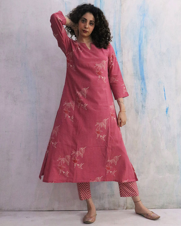 Pink Sunheri Block Print Cotton Kurta Set of 2