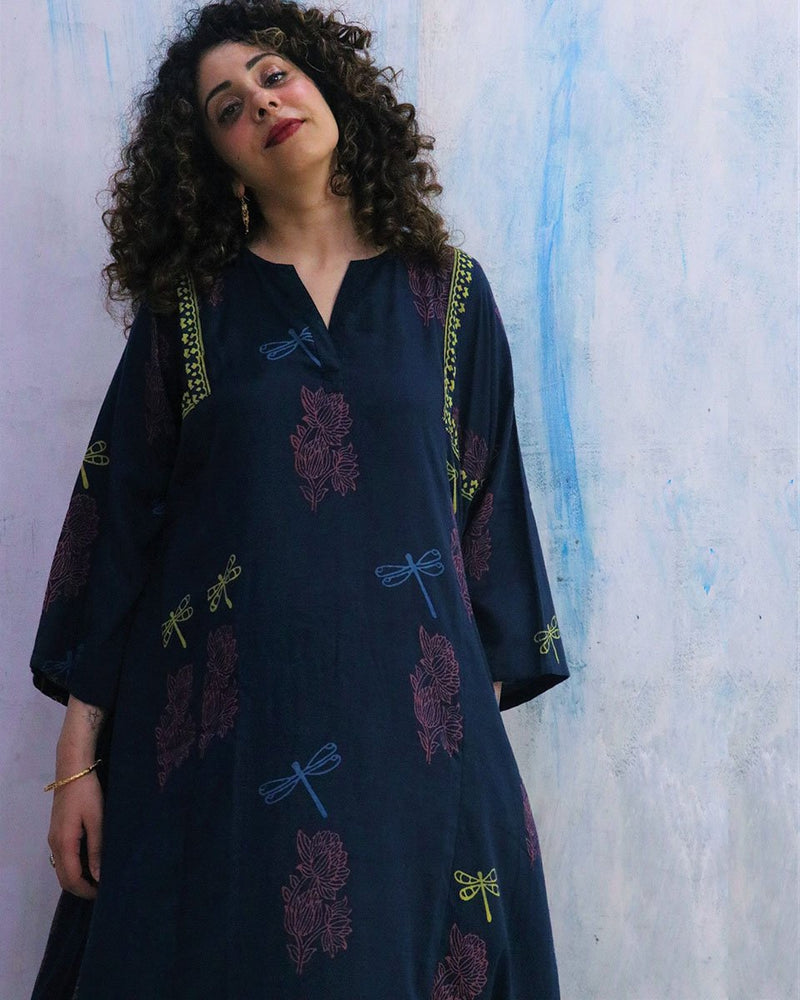 Blue Dragonfly Block Print Cotton Silk Kurta Set of 2- WBS