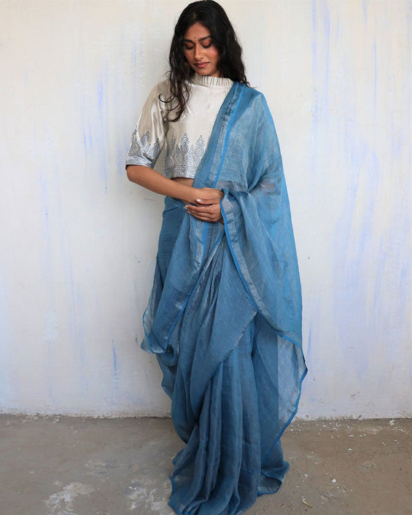 Blue Handwoven Linen Zari Saree