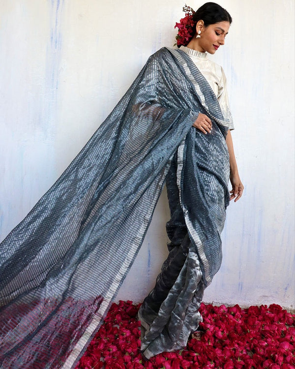 Handwoven mulberry silk zari grey saree