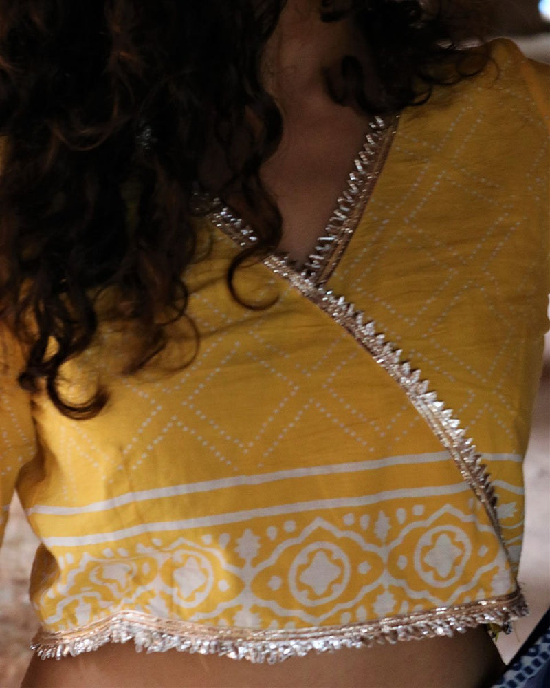 YELLOW GOTA BLOCKPRINTED CROP TOP WITH GOTA DETAIL