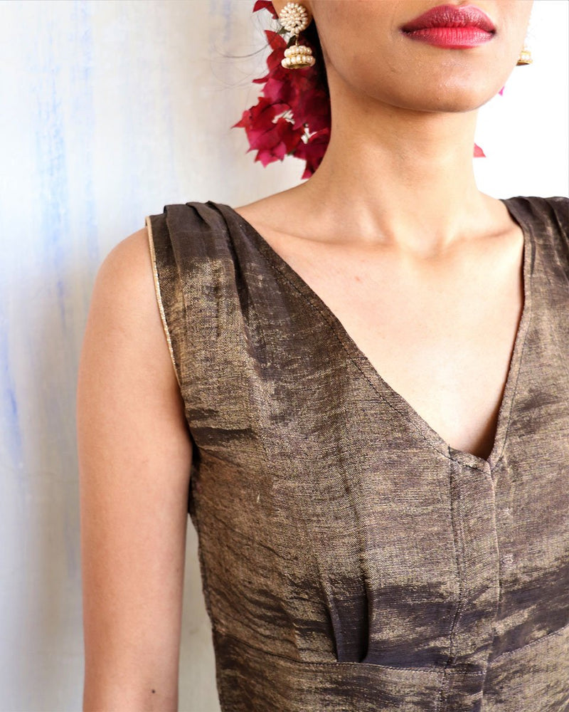 Black Handwoven Linen Zari Blouse