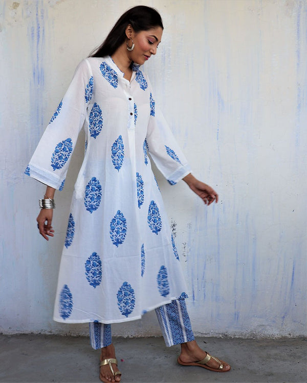 WHITE-BLUE BOOTI HANDPRINTED COTTON KURTI - MUGHAL