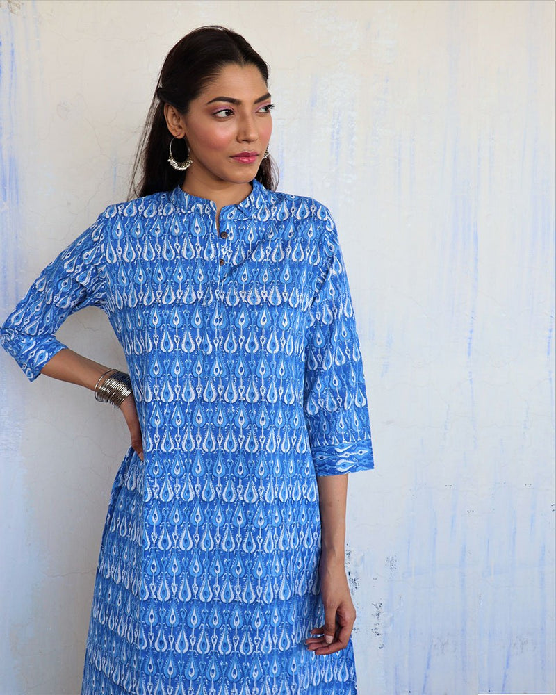 SKY BLUE JAL HANDPRINTED COTTON KURTI - MUGHAL