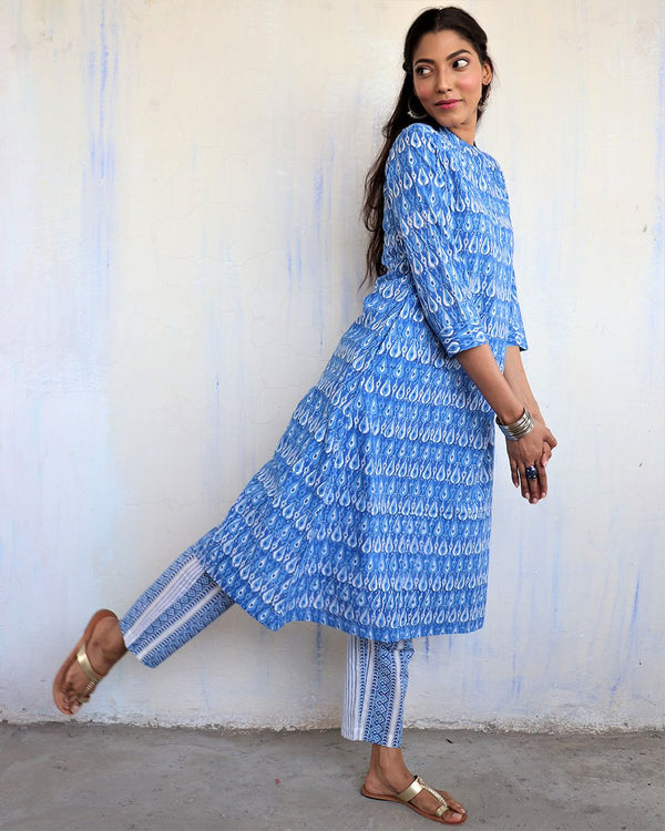 SKY BLUE BLOCKPRINTED COTTON BOTTOMS - MUGHAL