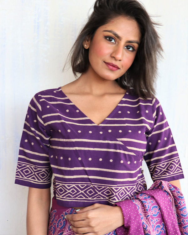 Purple Block Printed Crop Top Blouse