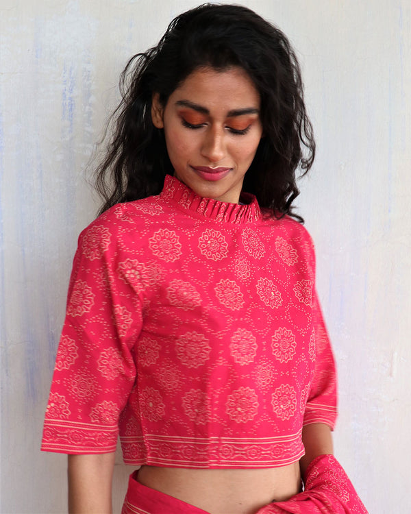 Pink Block Printed Crop Top Blouse