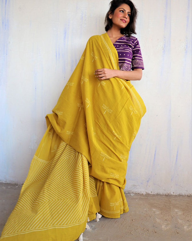 Yellow Dragonfly Block Printed Cotton Mulmul Saree