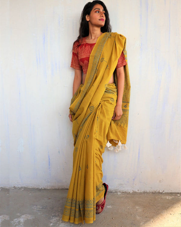 Yellow Block Printed Cotton Mulmul Saree
