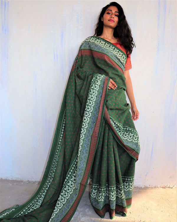 Green Block Printed Cotton Mulmul Saree