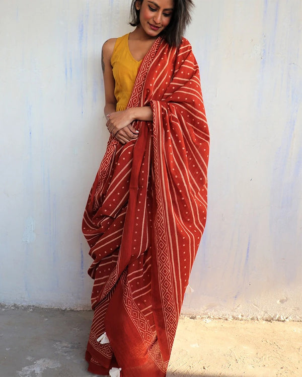 Rust Block Printed Cotton Mulmul Saree