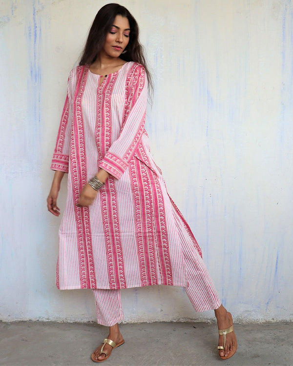 PINK STRIPE BLOCKPRINTED COTTON BOTTOMS - MUGHAL