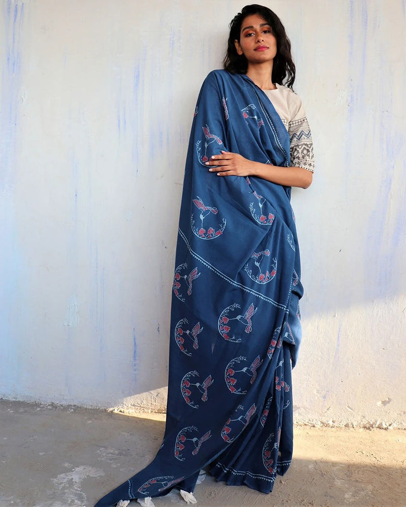 Blue Block Printed Cotton Mulmul Saree