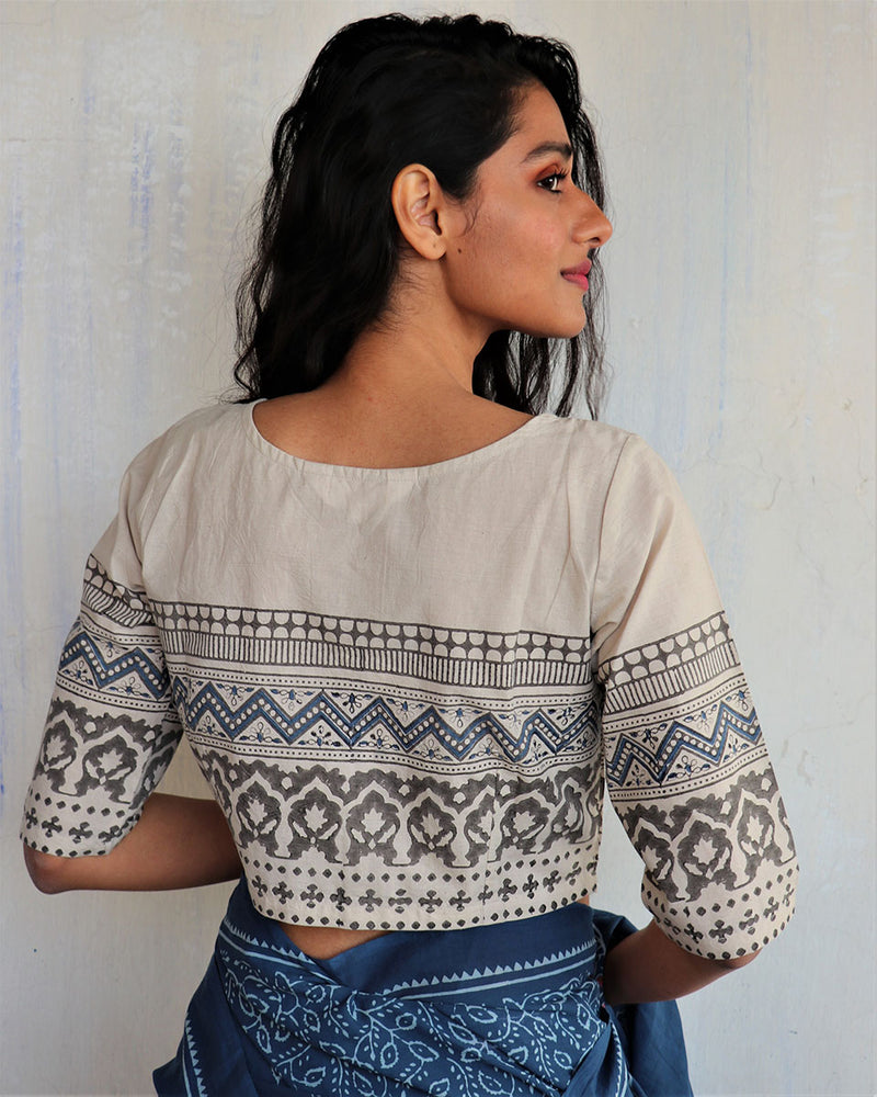 Ivory Block Printed Crop Top Blouse
