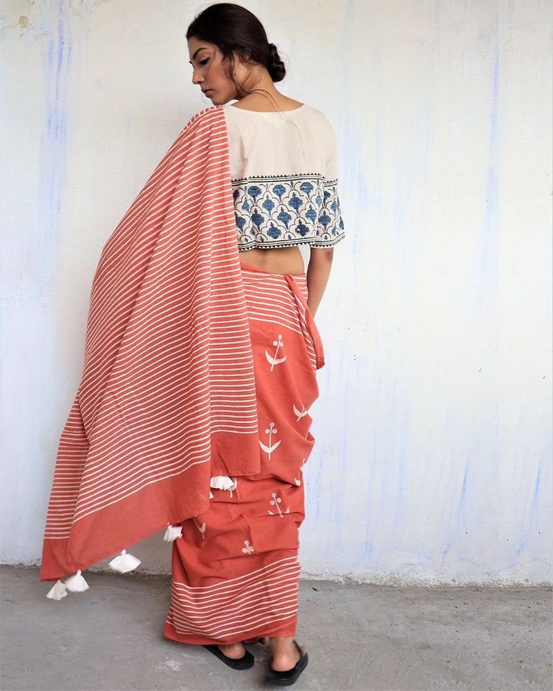 Rust Block Printed Cotton Mul Saree -GOD