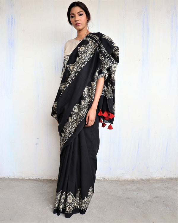 Black Block Printed Cotton Mul Saree -GOD