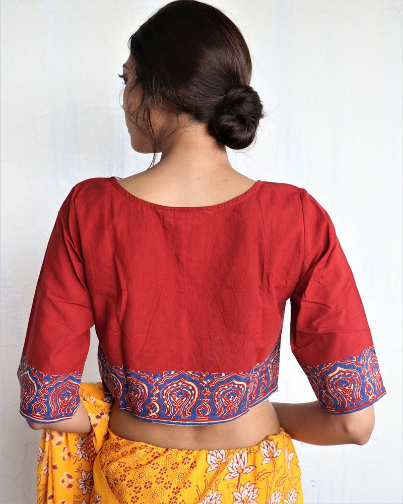 Marron Handprinted Cotton Crop Top - GOD