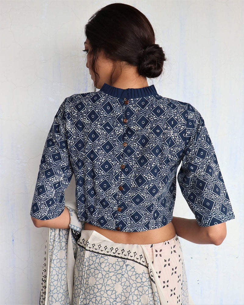 Blue Frill Neck Handprinted Cotton Crop Top - GOD