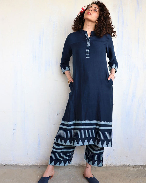 Blue Border blockprinted Kurti & Bottom (Set of 2) - Hibiscus