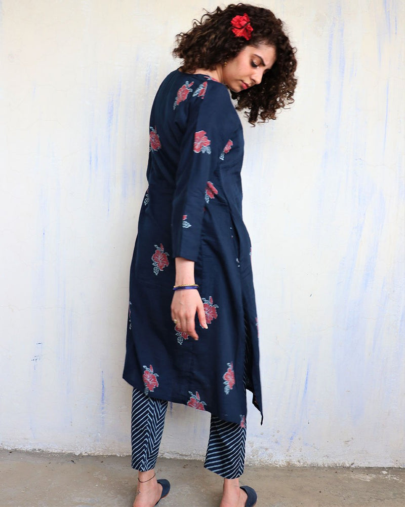 Blue Hibiscus blockprinted Kurti & Bottom (Set of 2) - Hibiscus