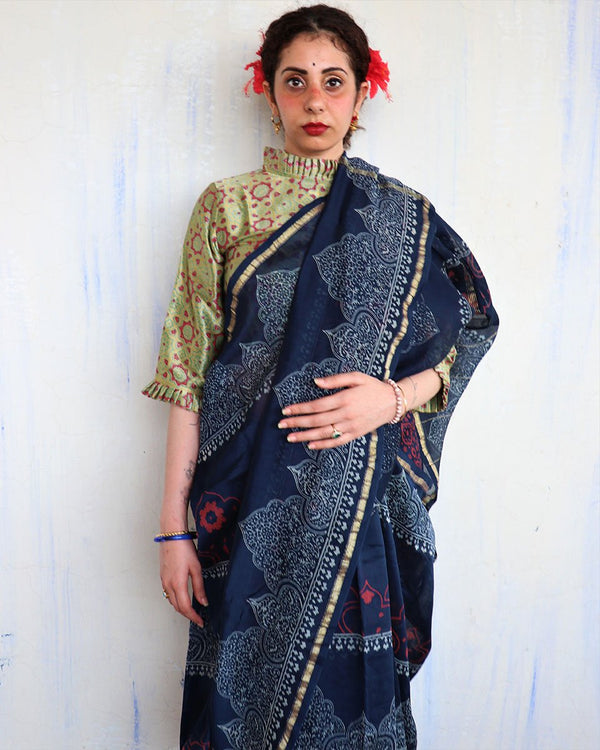 Blue Block Printed Chanderi Silk Saree - Hibiscus