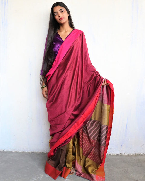 Rani-Brown Handwoven Cotton Saree -HOLI