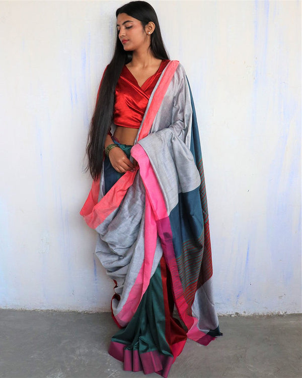 Grey-Green Handwoven Cotton Saree -HOLI