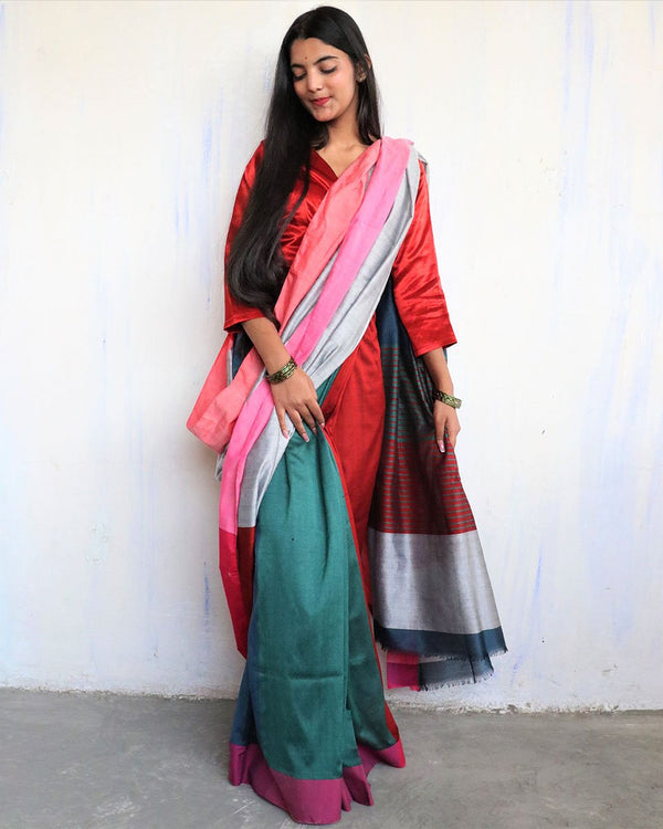 Red-Green Handwoven Cotton Saree -HOLI
