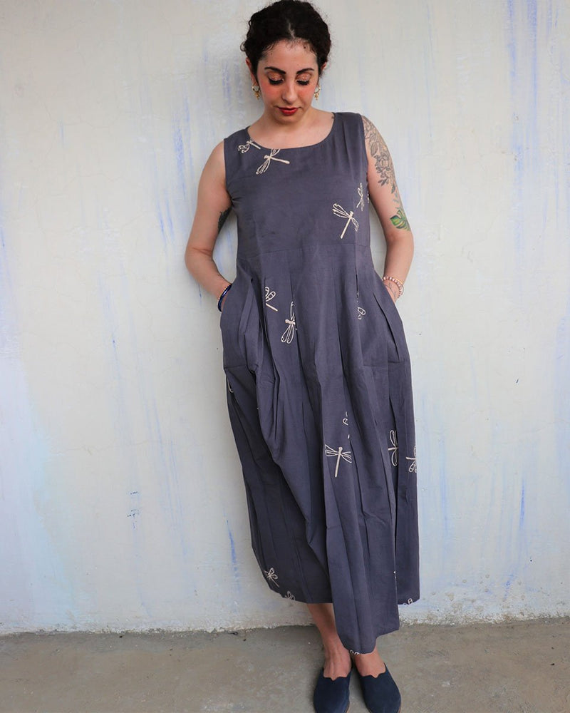 Grey blockprinted cotton dress