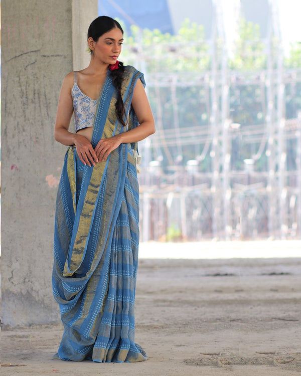 Sky Blue BlockPrinted Pure Handwoven Linen Zari Saree - Manjari
