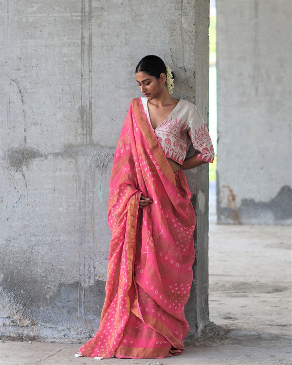 Pink BlockPrinted Pure Handwoven Linen Zari Saree - Manjari