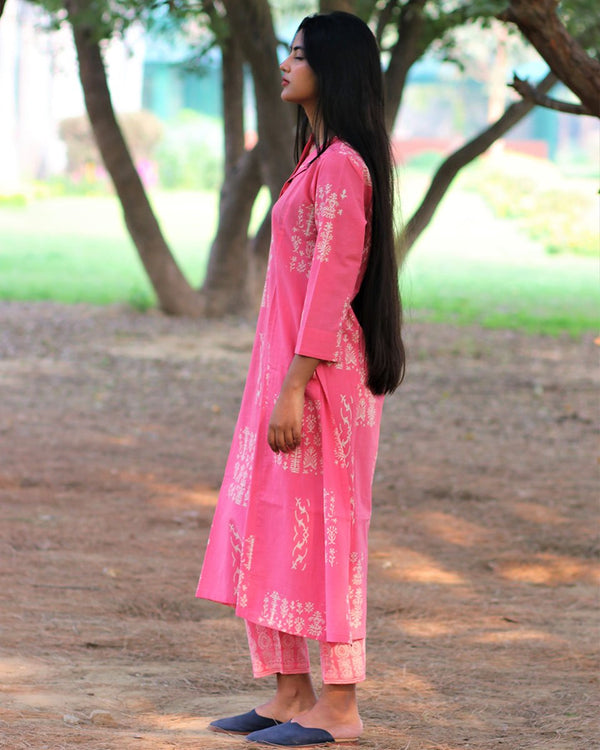 Pink Handprinted Pure Cotton Kurti Set of 2 - Slow