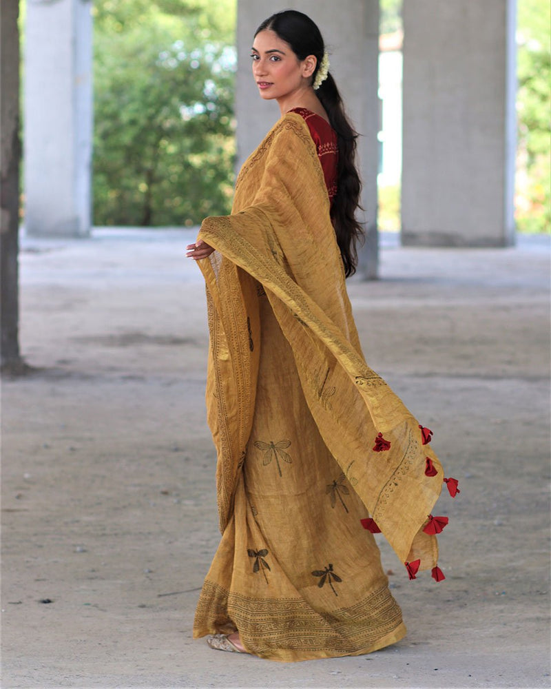 Yellow Zari Pure Handwoven Linen Saree - Manjari