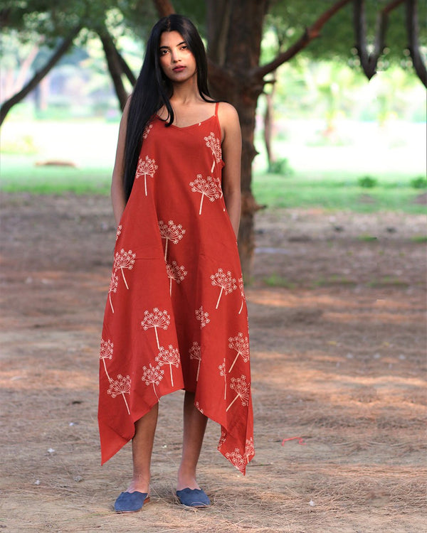 Rust Handprinted Pure Cotton Dress - Slow