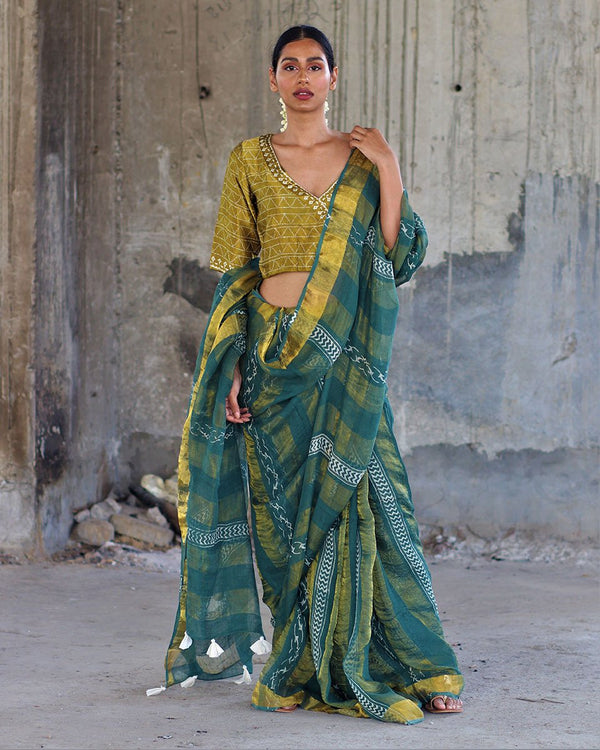 Green Block printed Pure Handwoven Linen Zari Saree - Manjari